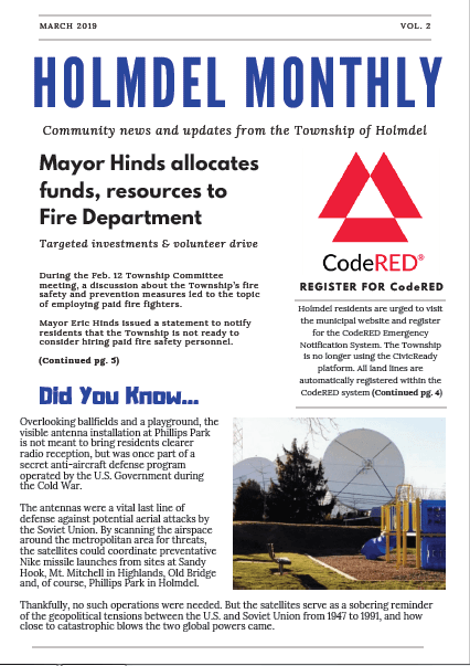 Holmdel Township Monthly Newsletter - March 2019