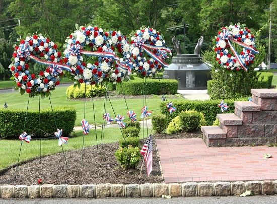 This is a photo of decorative wreaths displayed for the Township's annual Memorial Day Ceremony.