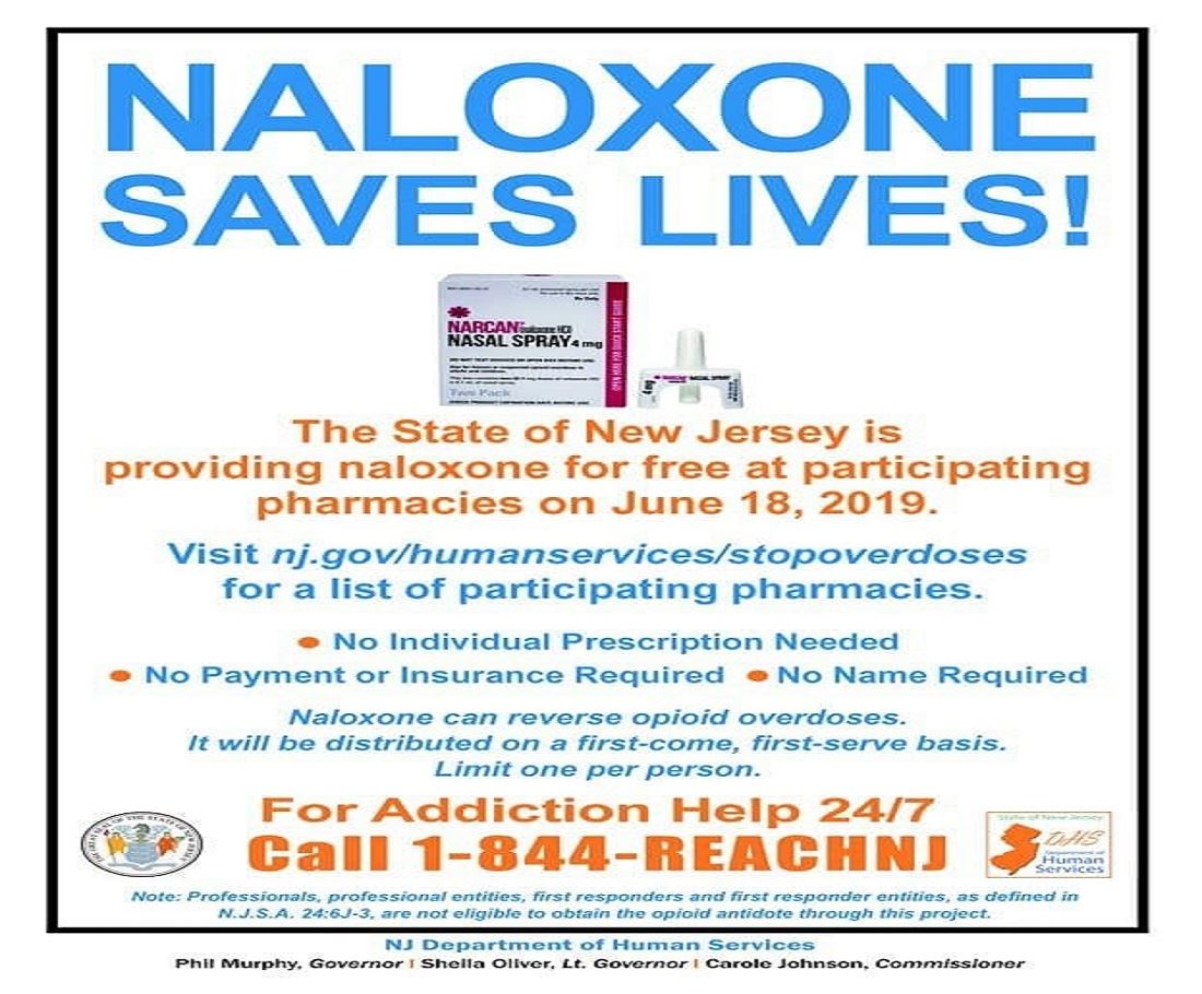 Poster advertising free naloxone on June 18, 2019