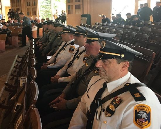 Holmdel Police Department members attend memorial service in Ocean Grove.