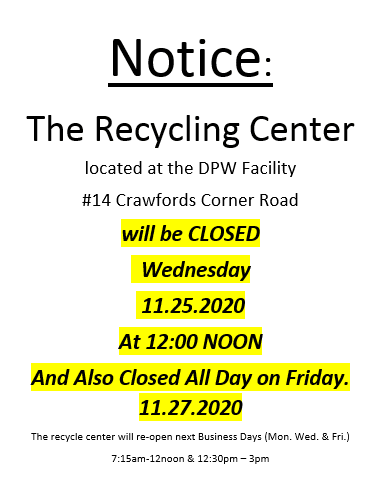 Recycling Center Closed 1120