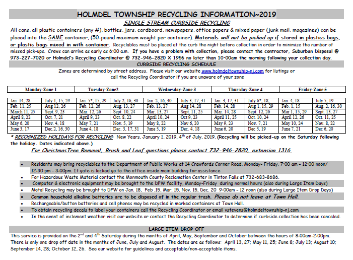 2019 Holmdel Recycling Schedule